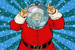 Funny Santa Claus astronaut makes faces. Pop art retro vector illustration Stock Images