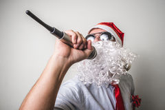 Funny santa claus babbo natale singing Stock Photo