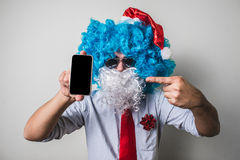 Funny santa claus babbo on the phone natale Stock Images