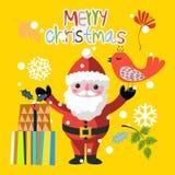 Funny Santa Claus and bird Royalty Free Stock Image