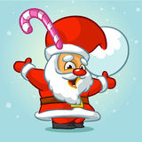 Funny Santa Claus with candy in his hat. Vector illustration. Stock Image