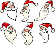 Funny santa claus cartoon faces icons set Royalty Free Stock Photography
