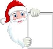 Funny Santa Claus cartoon holding a blank sign Stock Photo