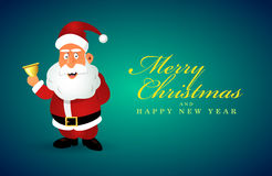 Funny Santa Claus character with golden bell.  Merry Christmas card. Blue vector background Royalty Free Stock Photo