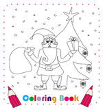 Funny Santa Claus Christmas Character, coloring book Stock Images