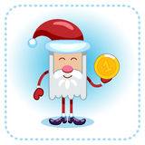 Funny Santa Claus and coin. Royalty Free Stock Image
