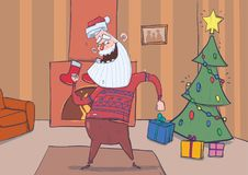 Funny Santa Claus in deer sweater smiling and dancing in decorated room with Christmas tree, stockigns and fireplace. Santa waves hands. Horizontal vector Royalty Free Stock Photo