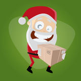 Funny santa claus is delivering a package Royalty Free Stock Photos