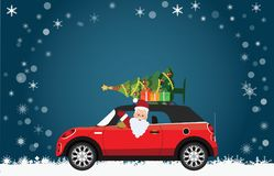 Funny Santa Claus is driving a red car with tree and gifts. Funny Santa Claus is driving a red car with tree and gifts on the top on Christmas landscape, Merry Stock Photography