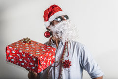 Funny santa claus gift box babbo natale Royalty Free Stock Image