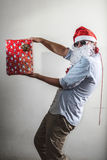 Funny santa claus gift box babbo natale Stock Photos