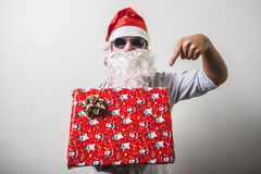 Funny santa claus gift box babbo natale Stock Photo