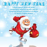 Funny Santa Claus with Gift Sack. Vector Image Stock Images