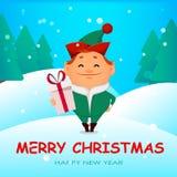 Funny Santa Claus helper elf stock illustration