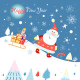 Funny santa claus on the hill Royalty Free Stock Photo