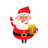 Funny Santa Claus holding Christmas gift and waving hand. Cute and funny Santa Claus holding Christmas gift, present and waving hand, cartoon vector illustration Stock Photography
