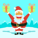 Funny Santa Claus Holding Presents Royalty Free Stock Images