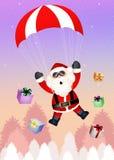 Funny Santa Claus. Illustration of Santa Claus with parachute Royalty Free Stock Photos