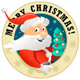 Funny Santa Claus Label. Vector illustration for Christmas decoration: Funny Santa Claus vector illustration