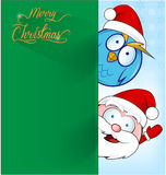 Funny santa claus with owl Royalty Free Stock Image