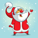 Funny Santa Claus pointing hand. Christmas greeting cardr. Vector illustration. Stock Photos