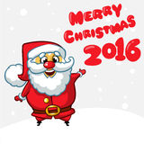 Funny Santa Claus pointing hand. Vector illustration. Royalty Free Stock Image