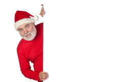 Funny Santa Claus with poster Royalty Free Stock Photo