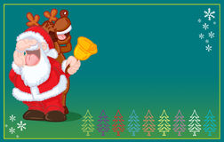 Funny santa claus  and reindeer singing christmas Royalty Free Stock Photo
