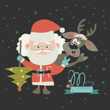 Funny Santa Claus with reindeer Stock Images