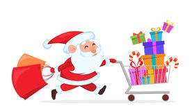 Funny Santa Claus running with shopping cart royalty free illustration