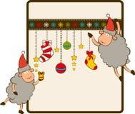Funny Santa Claus sheep. Royalty Free Stock Photos