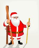 Funny Santa Claus with skis. Vector poster Stock Photo