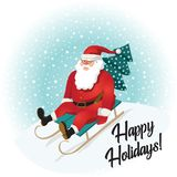 Funny Santa Claus sledding with mountains. Christmas greeting card background poster. Vector illustration. Happy holidays Stock Photo