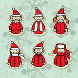 Funny santa claus stickers Royalty Free Stock Photos