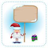 Funny Santa Claus and table. Funny Santa Claus holds a table. Under a table in a gift lies snow Royalty Free Stock Photo