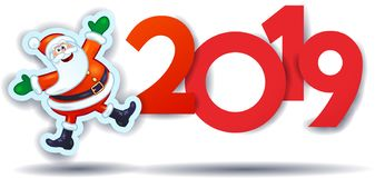 Funny Santa Claus and text, New Year illustration. Vector eps10 royalty free illustration