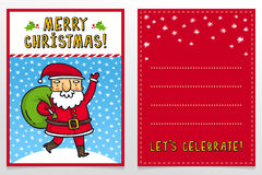 Funny Santa Claus vector Christmas greeting card design template Royalty Free Stock Image