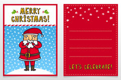 Funny Santa Claus vector Christmas greeting card design template Stock Images