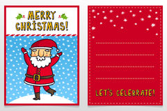 Funny Santa Claus vector Christmas greeting card design template Royalty Free Stock Photography