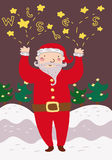 Funny Santa Claus whishes Stock Image