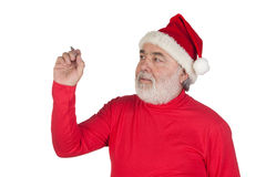 Funny Santa Claus writing with a pen Royalty Free Stock Photo