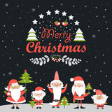 Funny Santa Clauses with Christmas tree Royalty Free Stock Photography