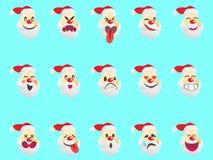 Funny santa expression face icons Royalty Free Stock Photo
