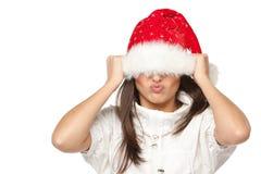 Funny Santa girl Stock Image