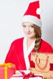 Funny Santa girl Stock Photo