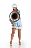 Funny santa girl with big trumpet Stock Photo