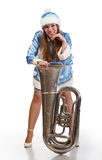 Funny santa girl with big trumpet Stock Images