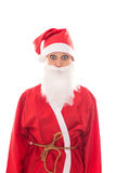 Funny Santa Girl looking to the Beholder, isolated on white, con. Cept Christmas and suit Stock Image