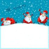 Funny Santa group enjoying Christmas Royalty Free Stock Photos