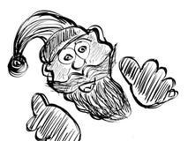 Funny Santa hand drawing sketch illustration Stock Image